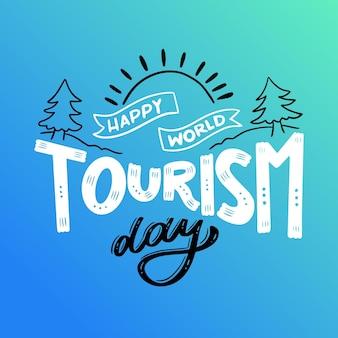Welttourismus tag schriftzug konzept