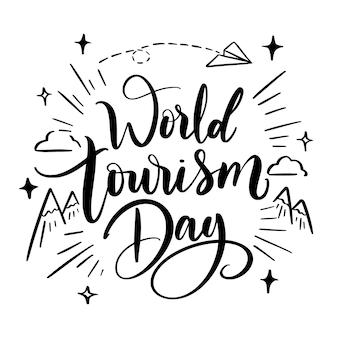 Welttourismus tag schriftzug