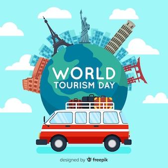 Welttourismus-tageshintergrund mit marksteinen und transport