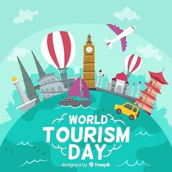Welttourismus-tageshintergrund mit marksteinen