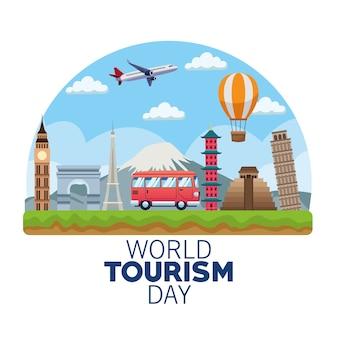 Welttourismus-tageskarte mit vektorillustrationsdesign des lieferwagens und der denkmäler
