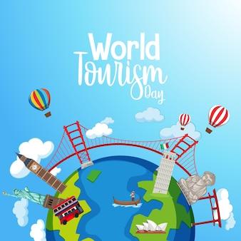 Welttourismus-tageslogo mit berühmten touristischen wahrzeichenelementen