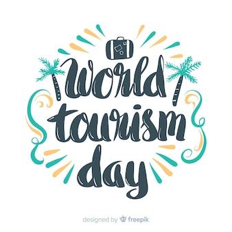 Welttourismustag-beschriftungshintergrund