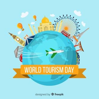 Welttourismustageshintergrund mit erde