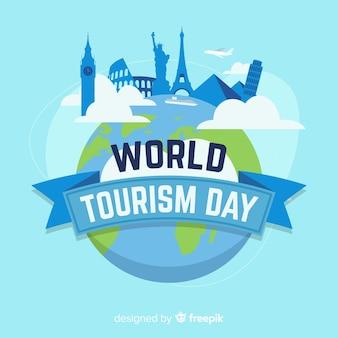 Welttourismustageshintergrund mit monumenten im flachen design