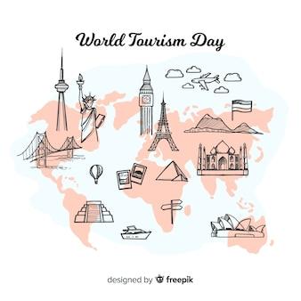 Welttourismustageshintergrund mit welt und monumenten