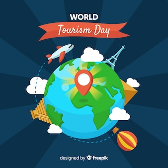 Welttourismustageskonzept mit flachem design