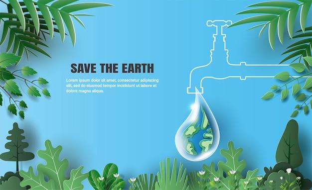 Weltumwelttag die erde in einem wassertropfen formt einen wassertropfen aus einem wasserhahn