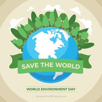 Weltumwelttag hintergrund mit grünen bäumen und den planeten erde