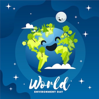 Weltumwelttag im flachen design