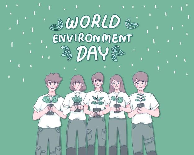 Weltumwelttag-karikaturillustration.