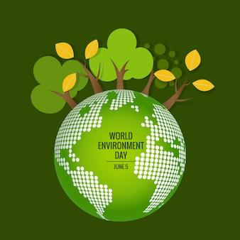 Weltumwelttag konzept. grüne eco earth. vektor-illustration.