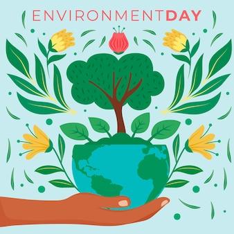 Weltumwelttag mit hand, der planeten hält