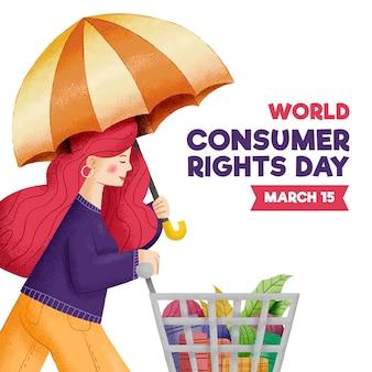 Weltverbraucherrechtstagillustration mit frau, die regenschirm und einkaufswagen hält