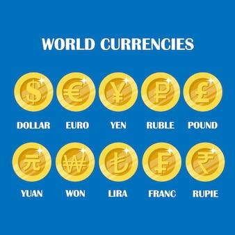 Weltwährungs-münzzeichensatz