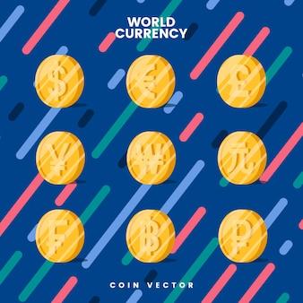 Weltwährungsgeld-symbolvektor
