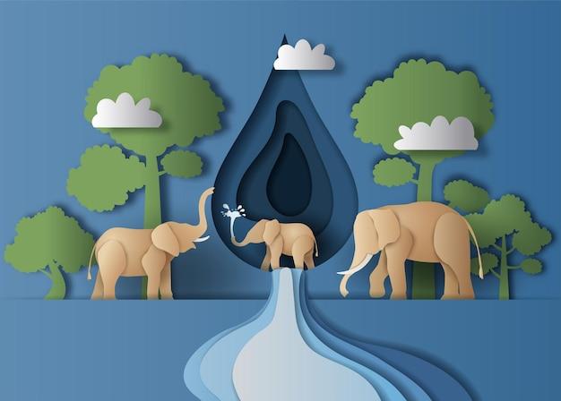 Weltwassertag, eine landschaft der elefantenfamilie mit wassertropfen und baumhintergrund, papierillustration.