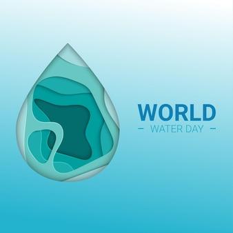Weltwassertag in papierschnitt. abstraktes wassertropfenkonzept