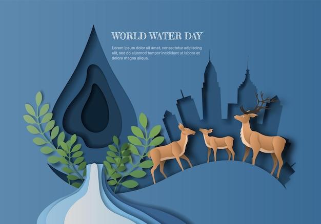 Weltwassertag, sparen sie wasser, eine hirschfamilie mit wassertropfen und stadthintergrund, papierillustration und papier.