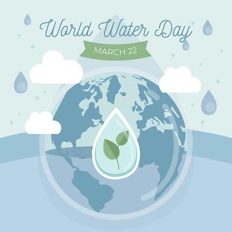 Weltwassertagillustration mit planet und wassertropfen