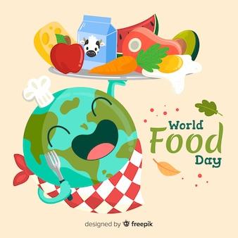 Weltweit food day hand gezeichnet