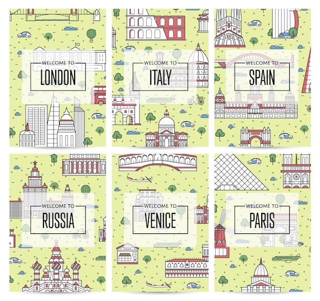 Weltweit reisende plakate im linearen stil