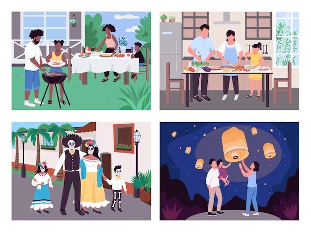 Weltweite kultur flache farbset. afrikanischer familiengrill. eltern und kind kochen. kulturelle vielfalt 2d-karikaturszene mit landschaft und innenraum auf hintergrundsammlung