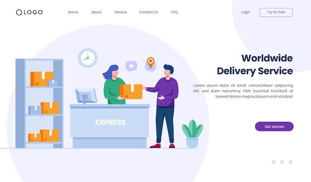 Weltweite lieferservice-landingpage-website