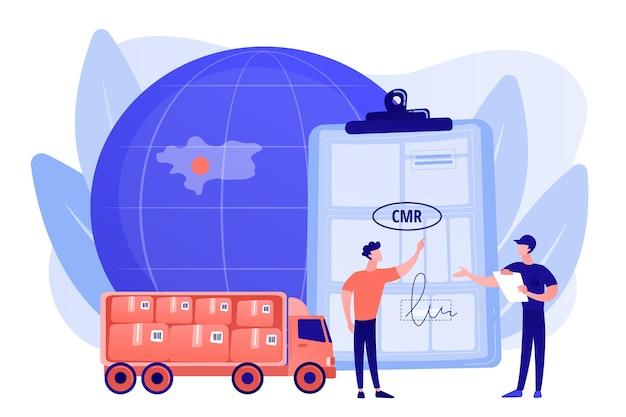 Weltweiter logistik- und vertriebsvertrag. straßentransportdokumente, cmr-transportdokument, internationales transportregulierungskonzept. isolierte illustration des rosa korallenblauvektors