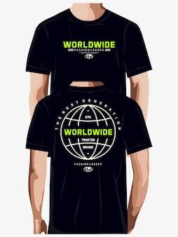 Weltweiter modeführer grafik-t-shirt-design-typografie-premium-vektor