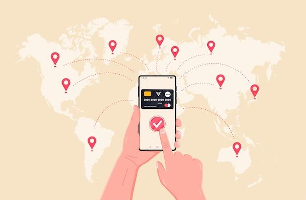Weltweites geldverkehrsgeschäft mobile banking und mobile payment