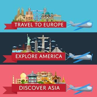 Weltweites reisebanner mit berühmten sehenswürdigkeiten