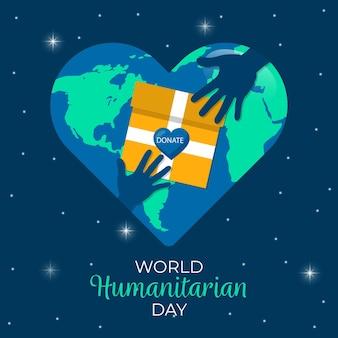 Weltwichtiger humanitärer tag des flachen designhintergrunds
