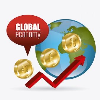 Weltwirtschaft, geld und business design.