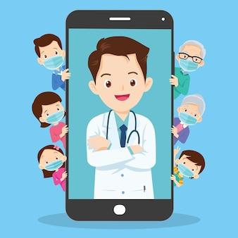 Wenden sie sich an das online-smartphone für ärzte und familienmitglieder