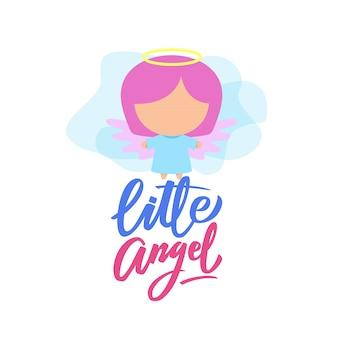 Wenig engel typografie illustration