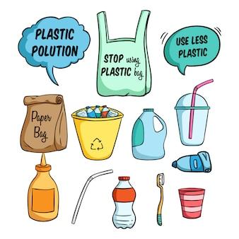 Weniger plastik-illustration für go green und die verwendung von farbigen doodle-stil
