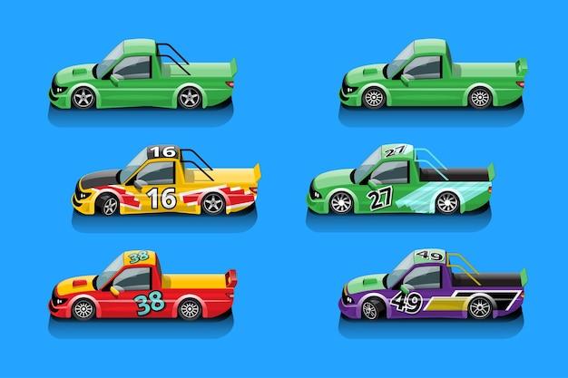 Wenn das spiel startet, kann der spieler den rennwagen in der spielbibliothek auswählen und die leistung des rennwagens erhöhen