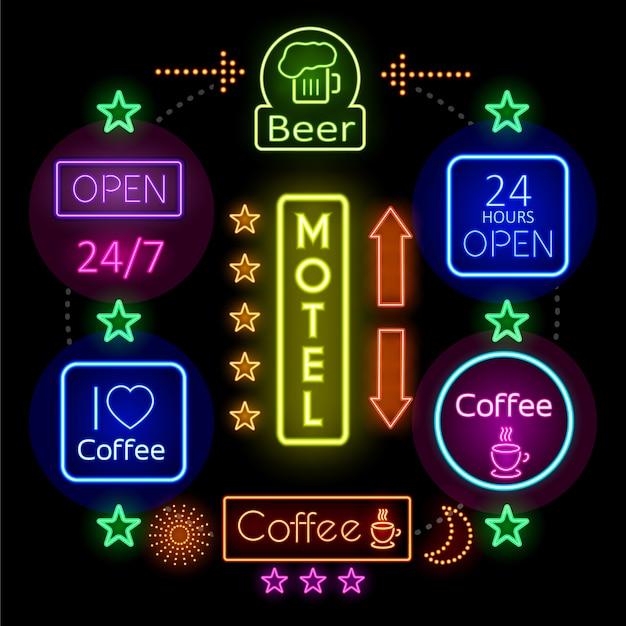 Werbe-leuchtreklamen-konzept mit bunten beleuchteten rahmen verschiedene wörter kaffeetasse bierglas
