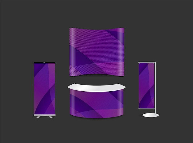 Werbeausstellungsstanddesign mit abstrakter hintergrunddarstellung moderner wellenkurven-corporate-identity-stil, vektorillustration