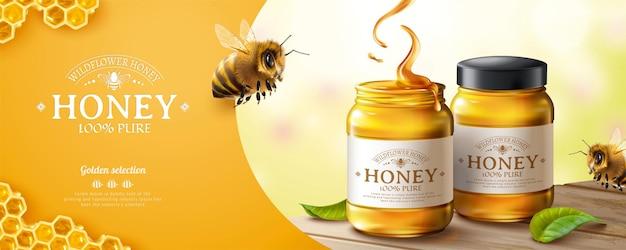 Werbebanner aus reinem honig mit süßer honigbiene