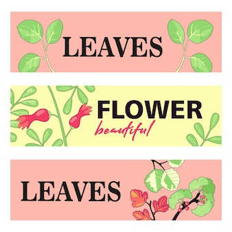 Werbebanner-designs mit blättern und blüten.