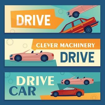 Werbebanner-designs mit modernen autos. fahrzeugfahnen auf buntem hintergrund