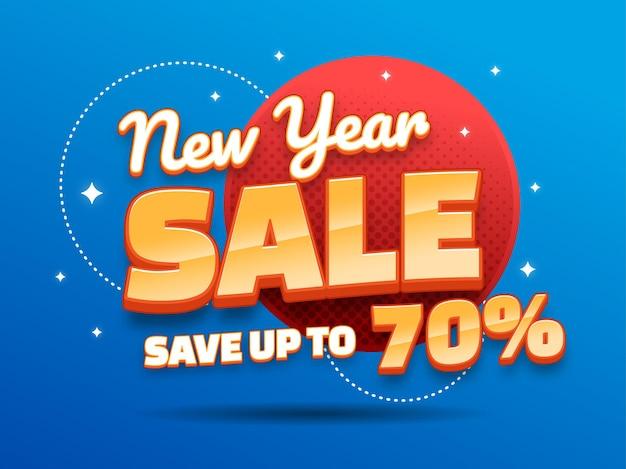 Werbebanner für den neujahrsverkauf mit 3d-text-stil-effekt
