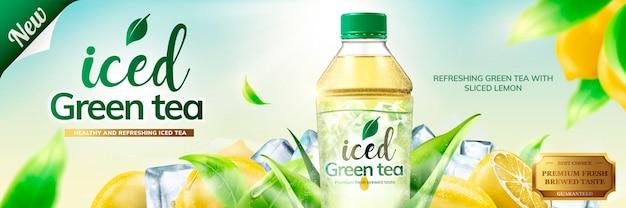 Werbebanner für grünen tee in flaschen