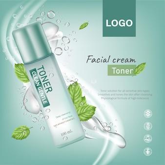Werbebanner für kosmetikflaschen mit minzwasserspritzern und tröpfchen auf blauem hintergrund