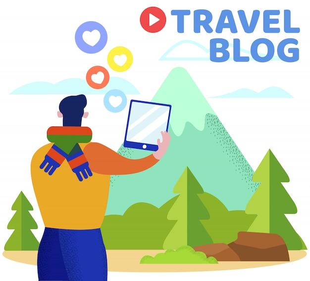 Werbebanner inschrift travel blog flat