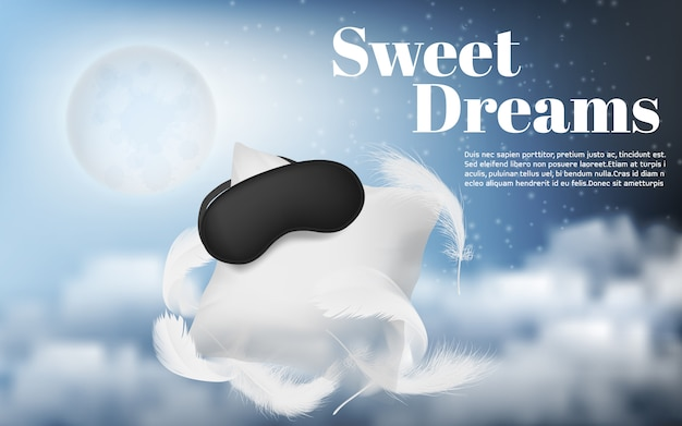 Werbebanner mit realistischem weißem kissen, augenbinde, federn