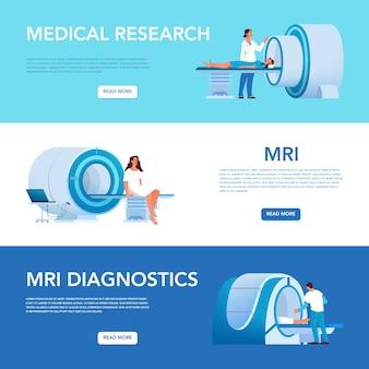 Werbebanner oder website-header für magnetresonanztomographie. medizinische forschung und diagnose. moderner tomographiescanner. mrt wolkenkratzer.