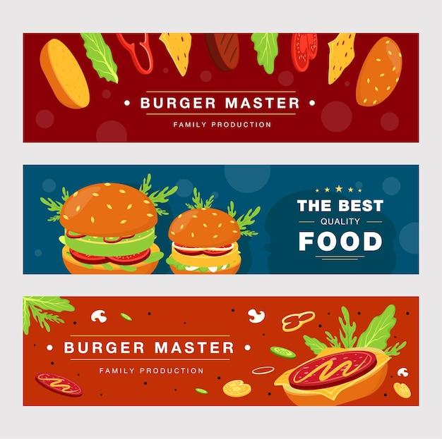 Werbebanner-schablonensatz für fast-food-lieferung.